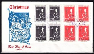Costa Rica, Scott cat. RA37-R38 only. Christmas Blocks of 4. First day cover. ^