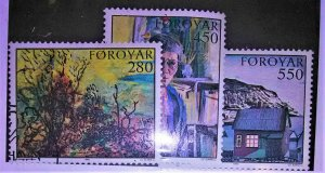 collectibles postage stamps of the faroes Islands1985 Island Art Paintings