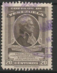 Venezuela 1950 20c used South America A4P53F66