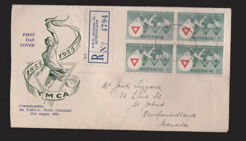 AUSTRALIA Scott #283 On FDC 100 Years Of YMCA Unknown Thermal Cachet