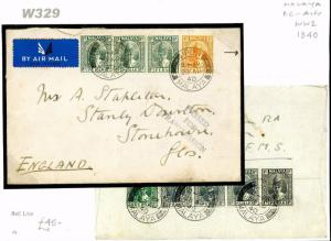 Malaya 1940PERAK WW2 *Ipoh* Censored 55c Airmail Cover Stonehouse Glos W329