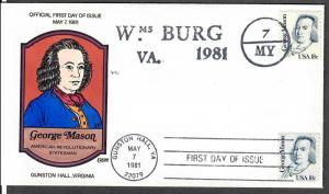 US Collins FDC SC#1858 George Mason