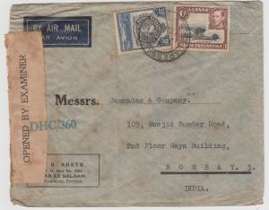 K.U.T.  1943  Daressalam  Cover To India Censored  2 Scans  62308