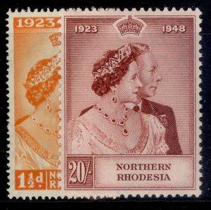 NORTHERN RHODESIA GVI SG48-49, ROYAL SILVER WEDDING set, M MINT. Cat £110.