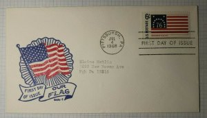 US FDC Sc# 1348 1st Day Issue Our Flag Bobby G Pittsburgh PA 1968