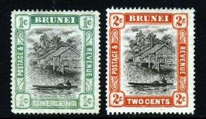 BRUNEI 1907 Brunei River 1c. Wmk Mult Crown CA REVERSED & 2c. SG 23x & 24 MINT