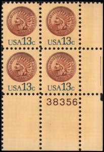US #1734 INDIAN HEAD PENNY MNH LR PLATE BLOCK #38356 DURLAND $1.50