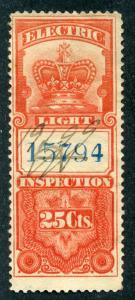 van Dam FE1 - Electric Light - 25¢ vermillion- 1895 Crown
