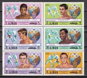Ajman, Mi cat. 1054-1059 A. Olympic Boxing Medalist issue.