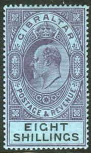GIBRALTAR-1903 8/- Dull Purple & Black/Blue lightly mounted mint example Sg