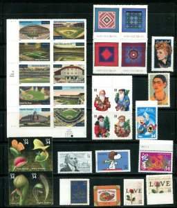 US 2001 Commemorative Year Set 76 stamps including 2 Sheets, Mint NH, see scans