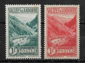 French Andorra 1932-38, Scott # 49-50, 1fr stamps,VF MVLH*OG (FR-1)