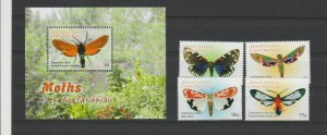 Grenada Grenadines 2005 moth insects butterflies set+s/s MNH
