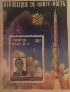 HAUTE VOLTA Space 1974 Мi Блок 23 Satellite FRANCAIS - А.1 - Fr.1 - D.1