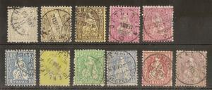 Switzerland 1862-81 Sitting Helvetias Fine Used (11v)