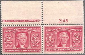 324 Mint,OG,LH... Imprint/Plate# Pair... SCV $120.00