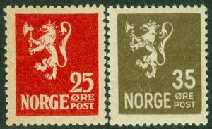 EDW1949SELL : NORWAY Scott #102, 123 Key Values. Very Fine, Mint OG. Cat $102.50