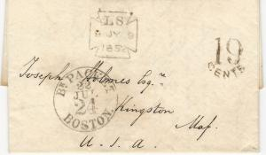 Great Britain, 1852 Stampless Cover, with Letter, To Kingston, MA, Rare Markings
