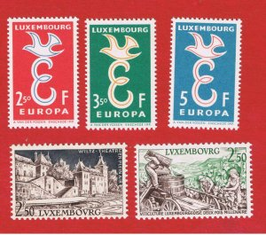 Luxembourg #341-345  MNH OG  Europa plus others  Free S/H