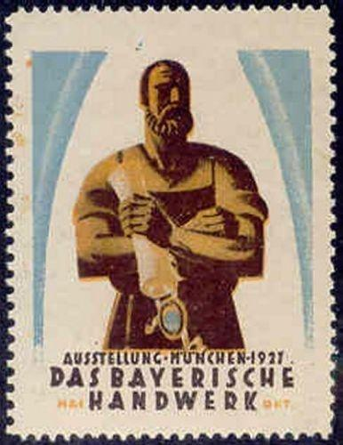 Germany 1927 Bavarian Handicraft Expo Poster Stamp