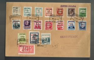 1937 Malaga Spain Censored Cover to Sevilla Civil War Overprints Certified Mail