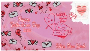 20-011, 2020, SC 5429, Valentines Day , Pictorial Postmark, Event Cover,
