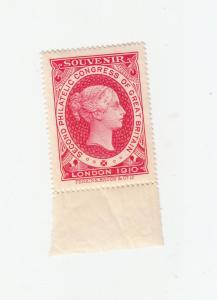 SECOND PHILATELIC CONGRESS GREAT BRITIAIN LONDON 1910 RED MINT