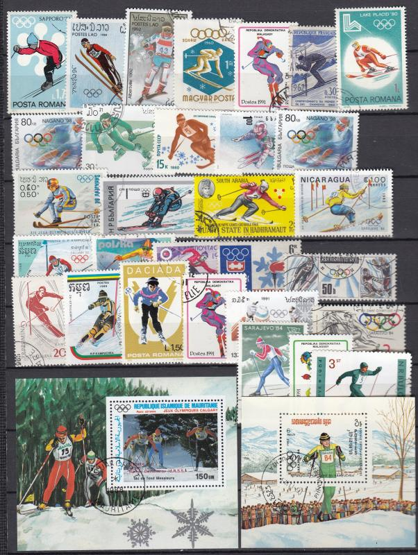 Ski race - 30+ small stamp lot - (2332)