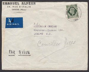 MOROCCO AGENCIES TANGIER Br PO 1944 GB 9d on censor cover to UK............29704