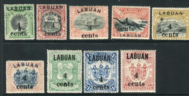 LABUAN-1904 A mounted mint SURCHARGE set Sg 129-137