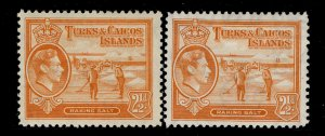 TURKS AND CAICOS ISLANDS GVI SG199 + 199a, 2½d SHADES, M MINT. Cat £19.