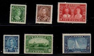 Canada Sc 211-16 1935 Silver Jubilee George V stamp set mint