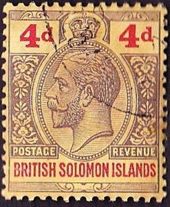 BRITISH SOLOMON ISLANDS 1914 KGV 4d Black & Red/Yellow SG29 FU