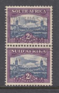 South Africa Sc 56 used. 1950 2p purple & slate blue Pretoria bi-lingual pair