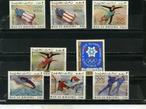 RAS AL KHAIMA 1967 WINTER OLYMPIC GAMES GRENOBLE SET OF 8 STAMPS MNH