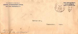 Penalty Navy Department General Storekeeper's Office Penalty Envelope 1908 Wa...