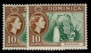 DOMINICA QEII SG150 + 150a, 10c SHADE VARIEITES, NH MINT. Cat £29.