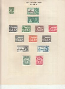 TURKS AND CAICOS 2 ALBUM PAGES,  VALUES MOSTLY 1937-55, MOUNTED MINT