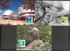 Liechtenstein 1999 Events UPU Caritas  3 Maxi Cards FDC