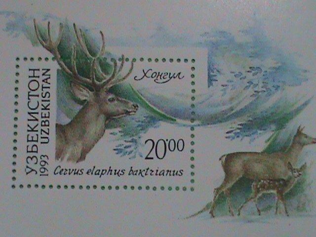 UZBEKISTAN STAMP 1993-  WILDLIFE DEER:  MINT NOT HING S/S SHEET  VERY RARE