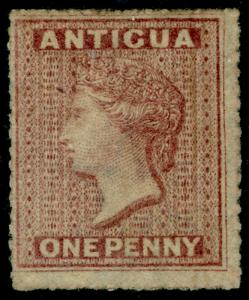 ANTIGUA SG6, 1d dull rose, UNUSED. Cat £120.