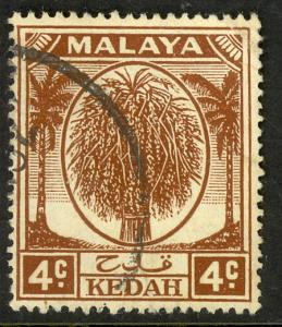 MALAYA KEDAH 1950-55 4c SHEAF OF RICE Issue Scott 64 VFU