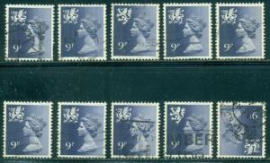 GREAT BRITAIN WALES SG-W27, SCOTT#  WMMH-12, USED, 10 STAMPS, GREAT PRICE
