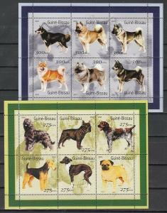Guinea Bissau, 2001 issue. Various Dogs on 2 sheets of 6.