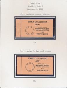 CANAL ZONE #32c MAJOR ERROR COVER HAND MADE BOOKLET PANE OF 6 WL3895A GPC17E