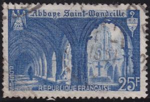 France 623 Cloister of St Wandrille Abbey 25Fr 1949