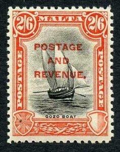 Malta SG188 2/6 Black and purple inscr Postage M/M Cat 27 pounds