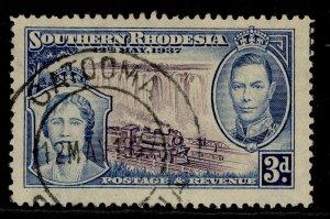 SOUTHERN RHODESIA GVI SG38, 3d violet & blue, FINE USED. CDS