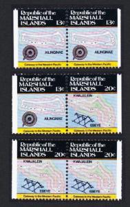 Marshall Is. Map and Navigations 3 Booklet pairs 2nd Series SG#9=11