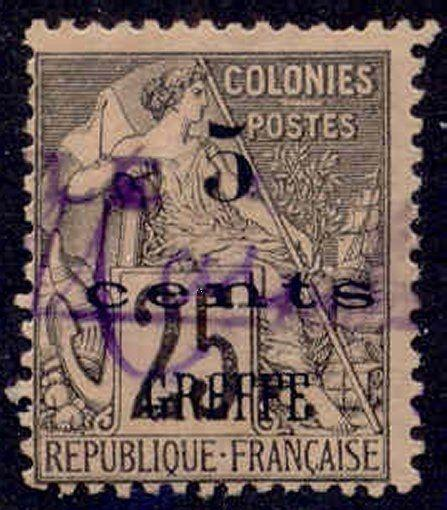 French Col.1886 25c Stamp with 5 cents GREFFE Overprint